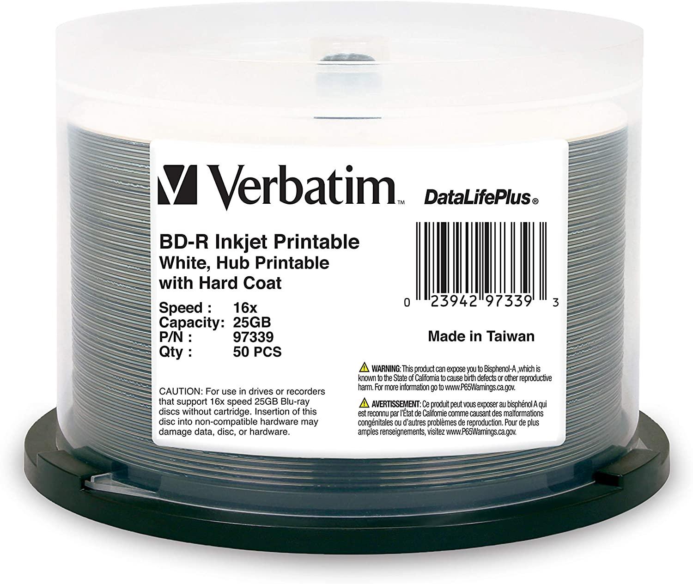 Verbatim BD-R 25GB 16X DataLifePlus White Inkjet Printable, Hub Printable - 50pk Spindle (97339)