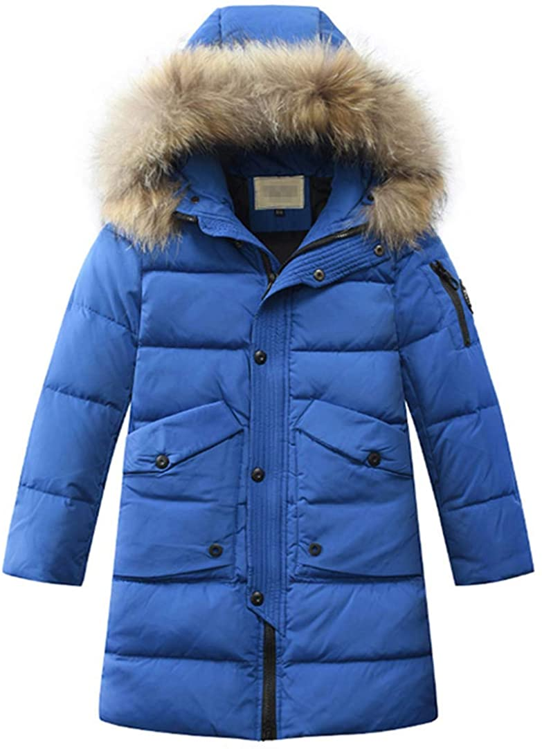 LISUEYNE Big Boys' Hooded Down Coat Mid-Long Winter Puffer Jacket for Kids