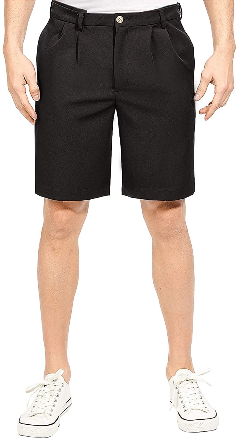MAGE MALE Men's Shorts Classic Fit Stretch Solid Expandable-Waist Pleat Front Short