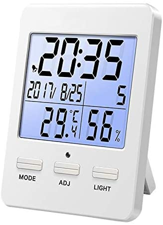 LIZONGFQ Indoor Hygrometer LCD Digital Display Backlight Temperature Hygrometer Multifunctional Clock Temperature Hygrometer, Suitable for Home Office