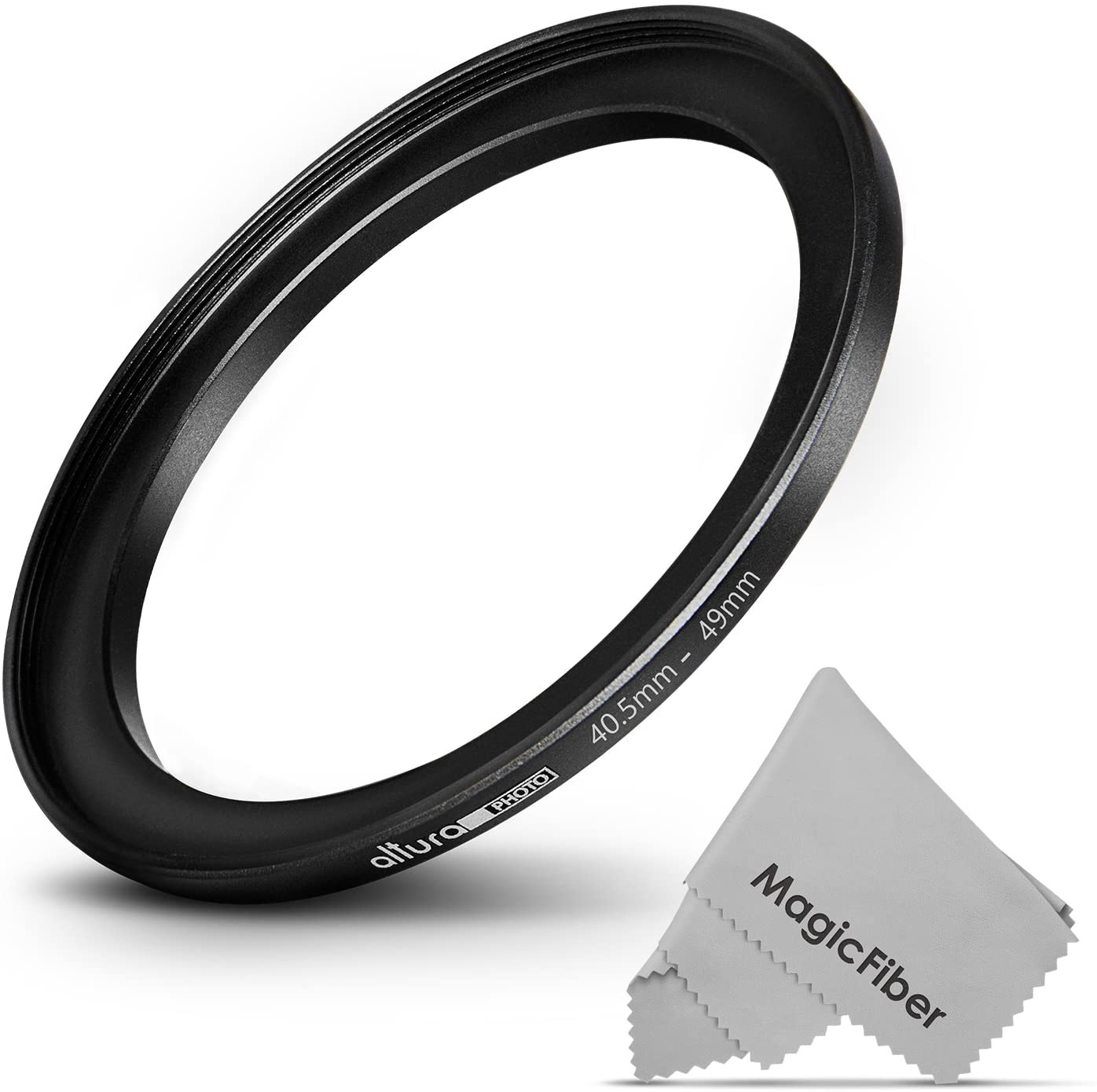 GOJA Altura Photo 40.5-49MM Step-Up Ring Adapter (40.5MM Lens to 49MM Filter or Accessory) + Premium MagicFiber Cleaning Cloth