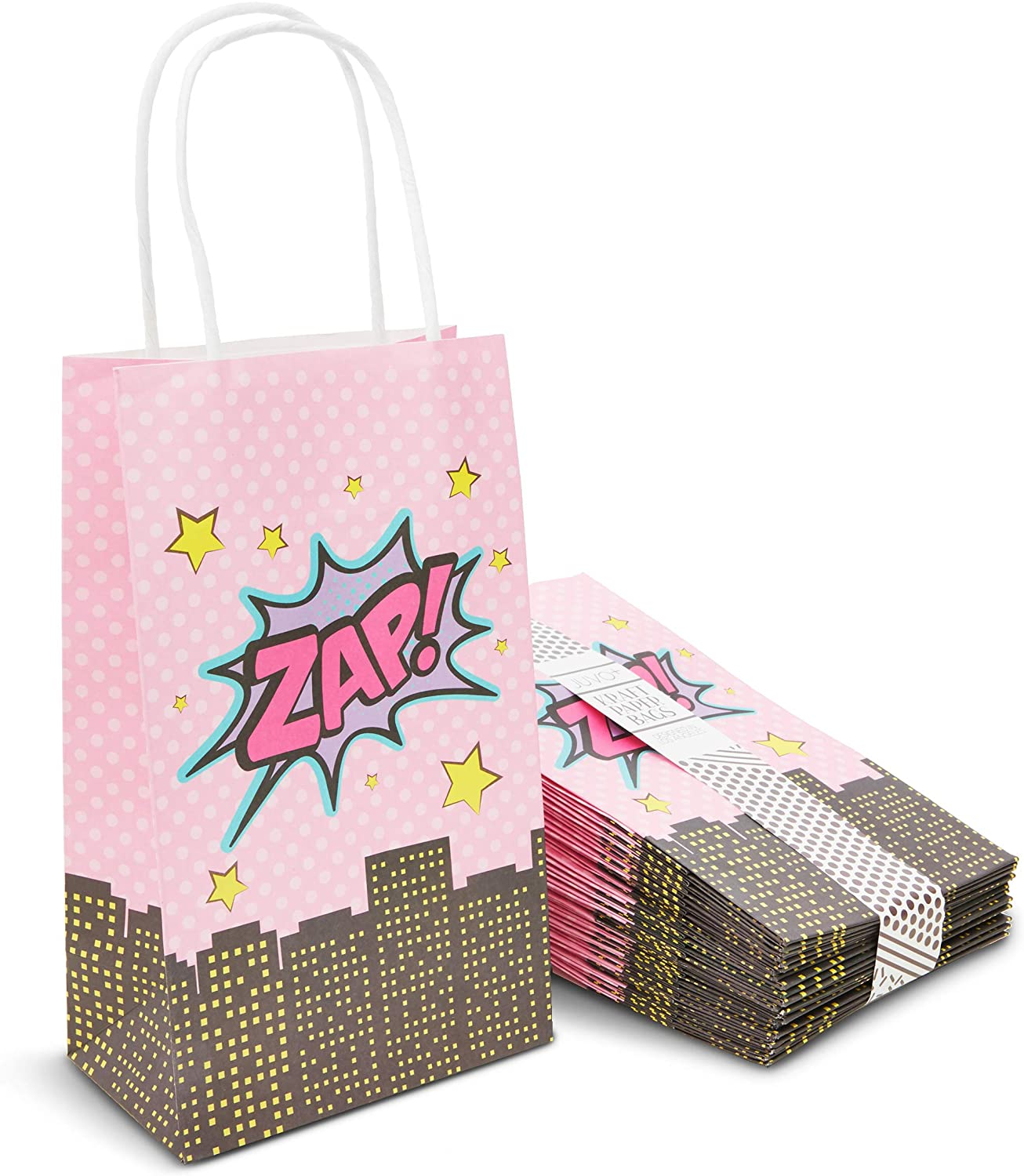 Superhero Girl Birthday Gift Bags with Handles (9 x 5.3 in, 24 Pack)