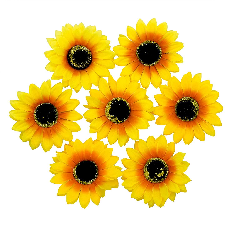 AUEAR, 12 PCS Sunflower Duckbill Hair Clip Flower Hair Alligator Clips Accessories for Women Girls Beach Summer Party
