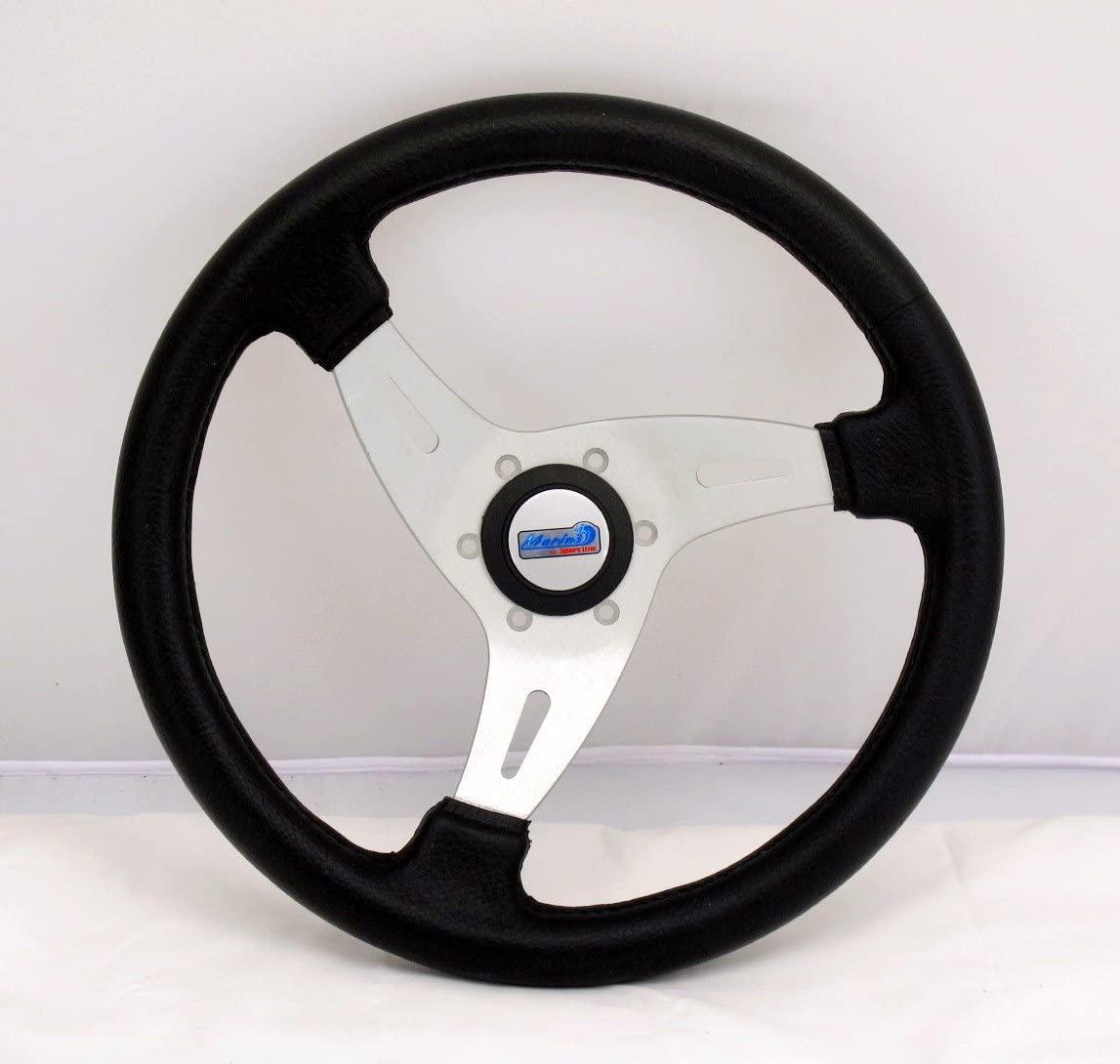 Sport Line Marine Steering Wheel - Vortice - 350mm (13.78 inches) - Black Polyurethane with Silver Spokes - Part # 50200/N (WOH)