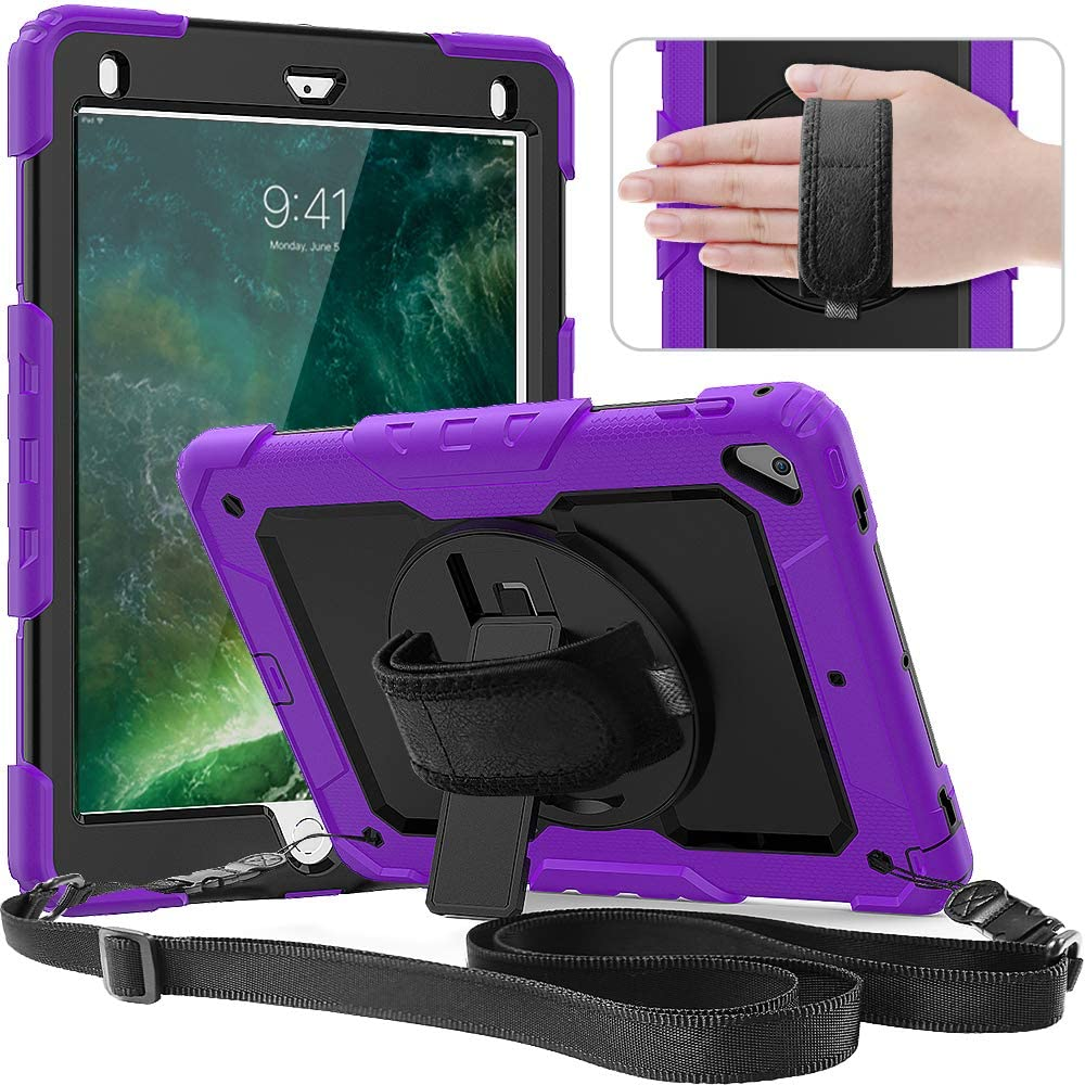 Timecity Case Compatible with iPad 9.7 Inch (iPad 6th/5th Generation Case 2018 2017/ iPad Air2 Case/iPad Pro 9.7 Case) with Rotating Stand/Strap Full-Body Hybrid Armor Protective Case Purple