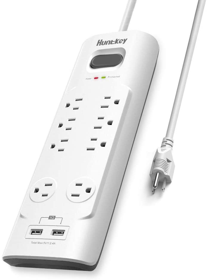 Huntkey Power Strip Surge Protector, 8 Outlets Extender, 2 USB Charging Ports 5V/2.4A with Wire Organizer, 6ft Extension Cord
