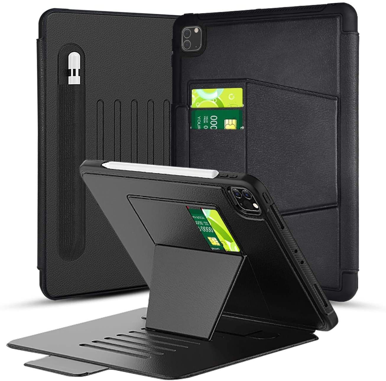 TGOOD iPad Pro 11 Case 2nd Gen 2020/2018 with Pen Holder,[Without Screen Protector],Durable and Shockproof Multi-Function Bracket Cover for ipad pro 11 inch(Model: A2228, A2068, A2230, A2231)-Black