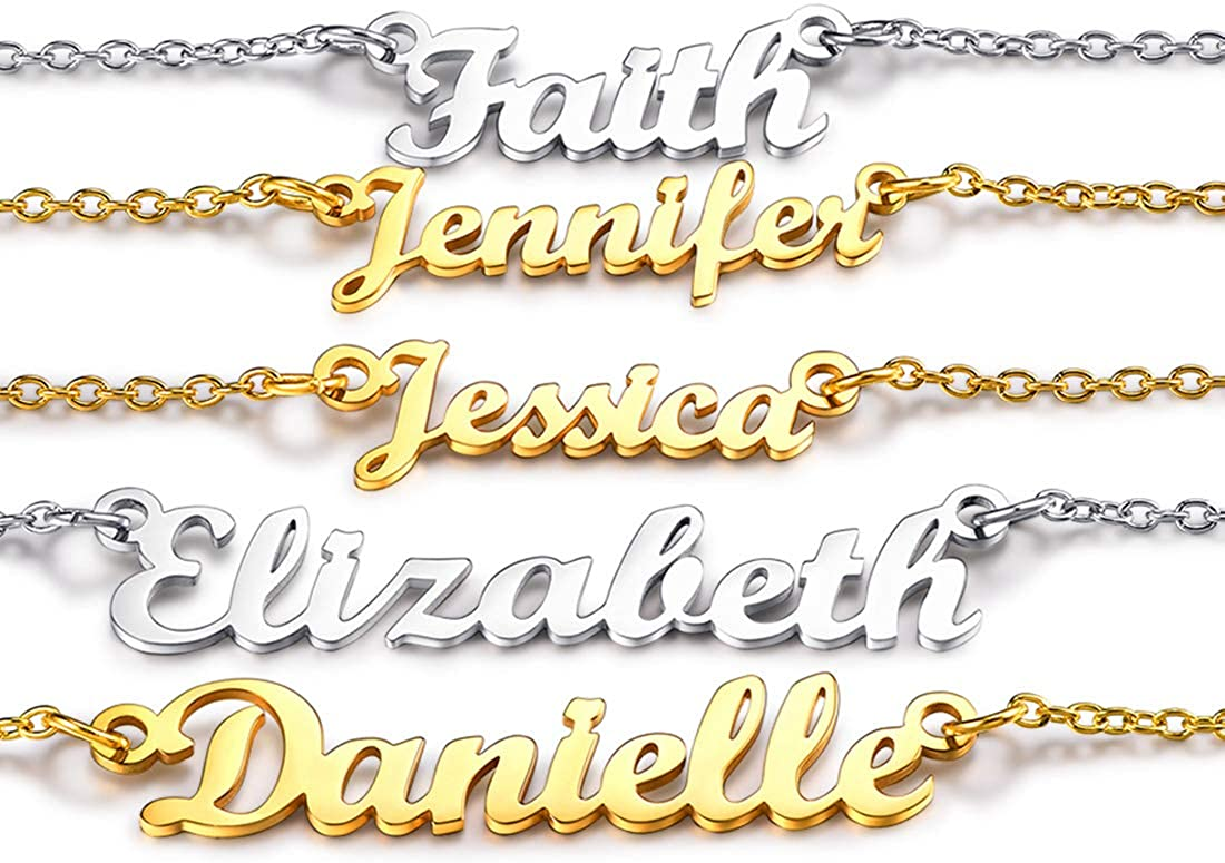 U7 Personalized Name Necklace Stainless Steel 18K Gold Plated Women Girls Gift Name Plate Jewelry Custom Any Names Choker Pendant 18 Inch