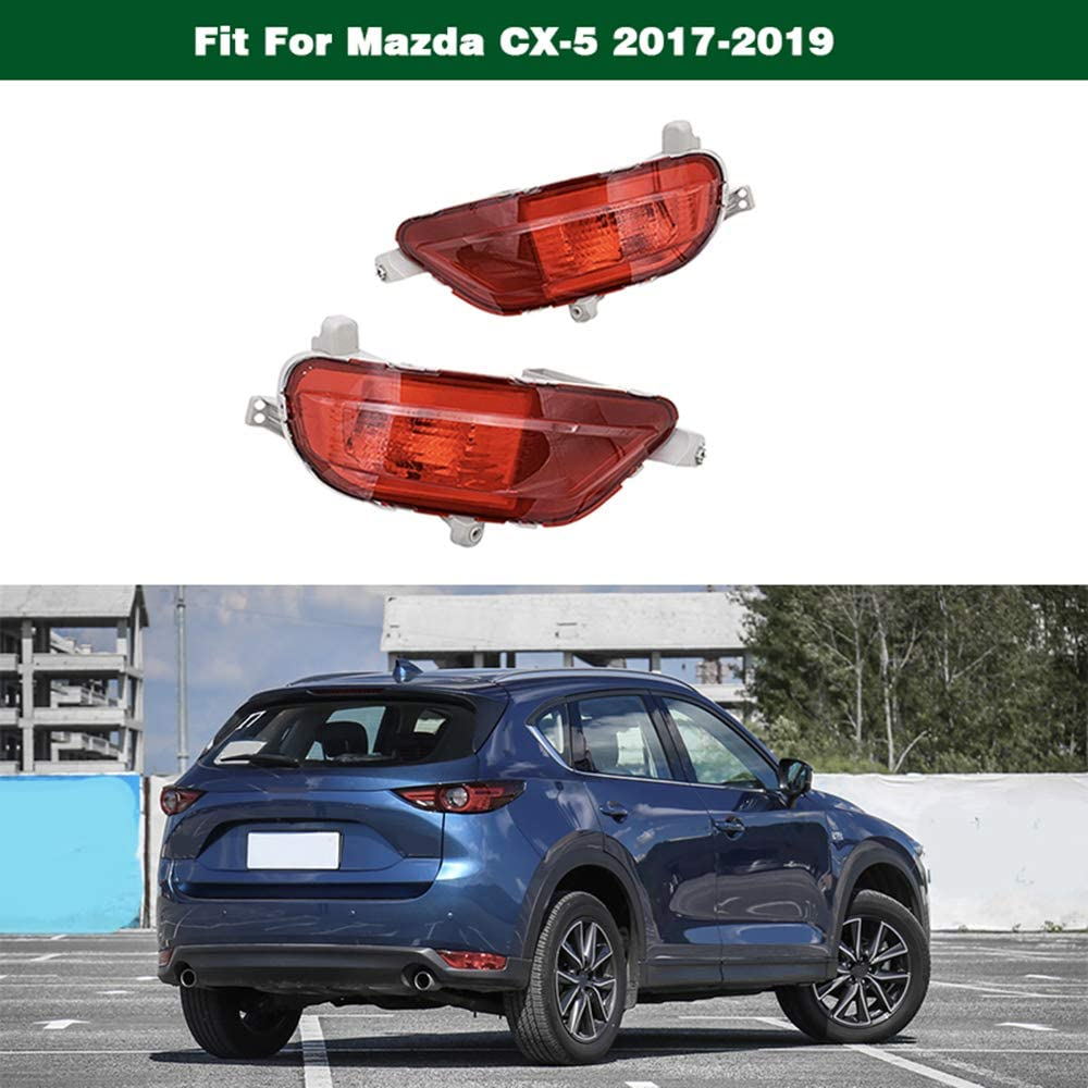 1Pair Red Reflector Rear Bumper Tail Light Fog Lamp Generic fit for Mazda CX-5 2017-2019