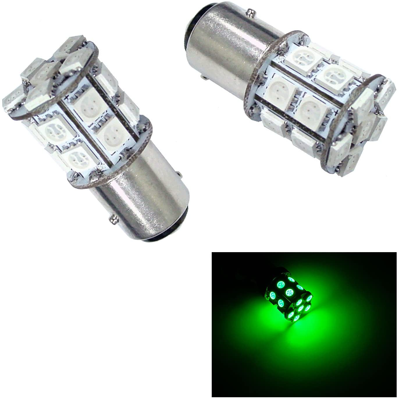 PA 2pcs 20 SMD AUTO Turn Signal Light/Side Marker Light/Brake Light Bulbs 12V (BAY15D, Green)