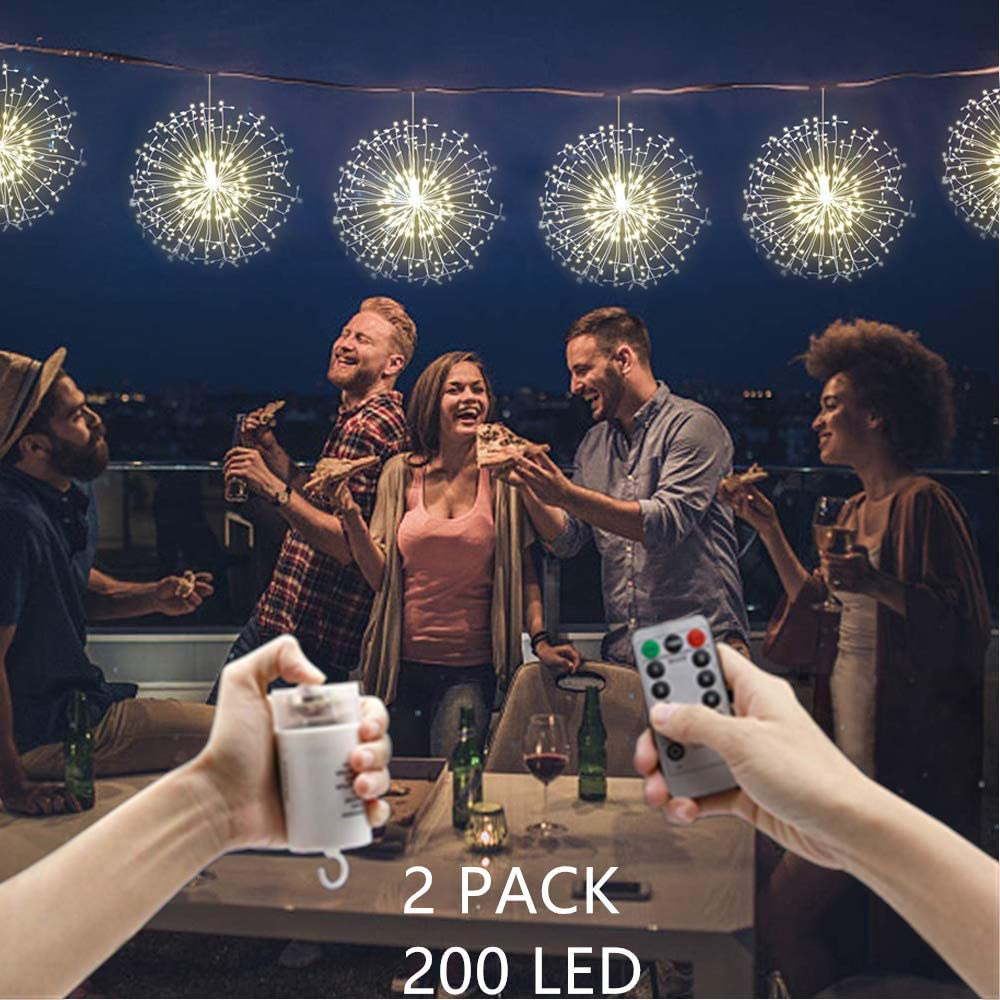 HDNICEZM 2 Pack Firework Lights 200 led Copper Wire Starburst String Lights 8 Modes Battery Operated Fairy Lights with Remote,Wedding Decorative Hanging Lights for Party Patio Garden Decoration