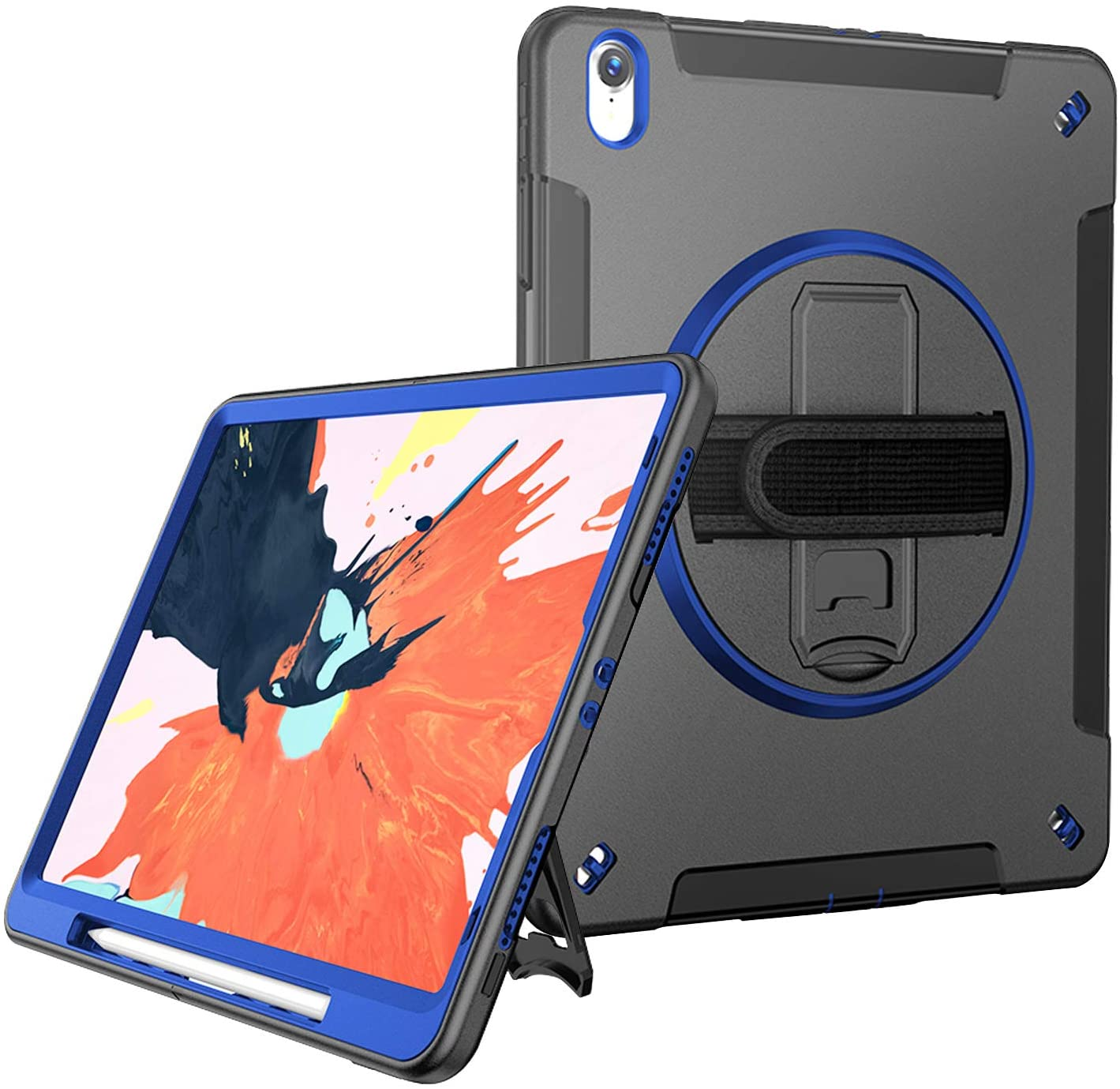 STLDM iPad Pro 12.9 Case 2018 with Pencil Holder Support Apple Pencil Wireless Charging,Rugged Protective Case with Rotatable Kickstand/Handle Strap Case for iPad Pro 12.9 inch 3rd Generation-Blue