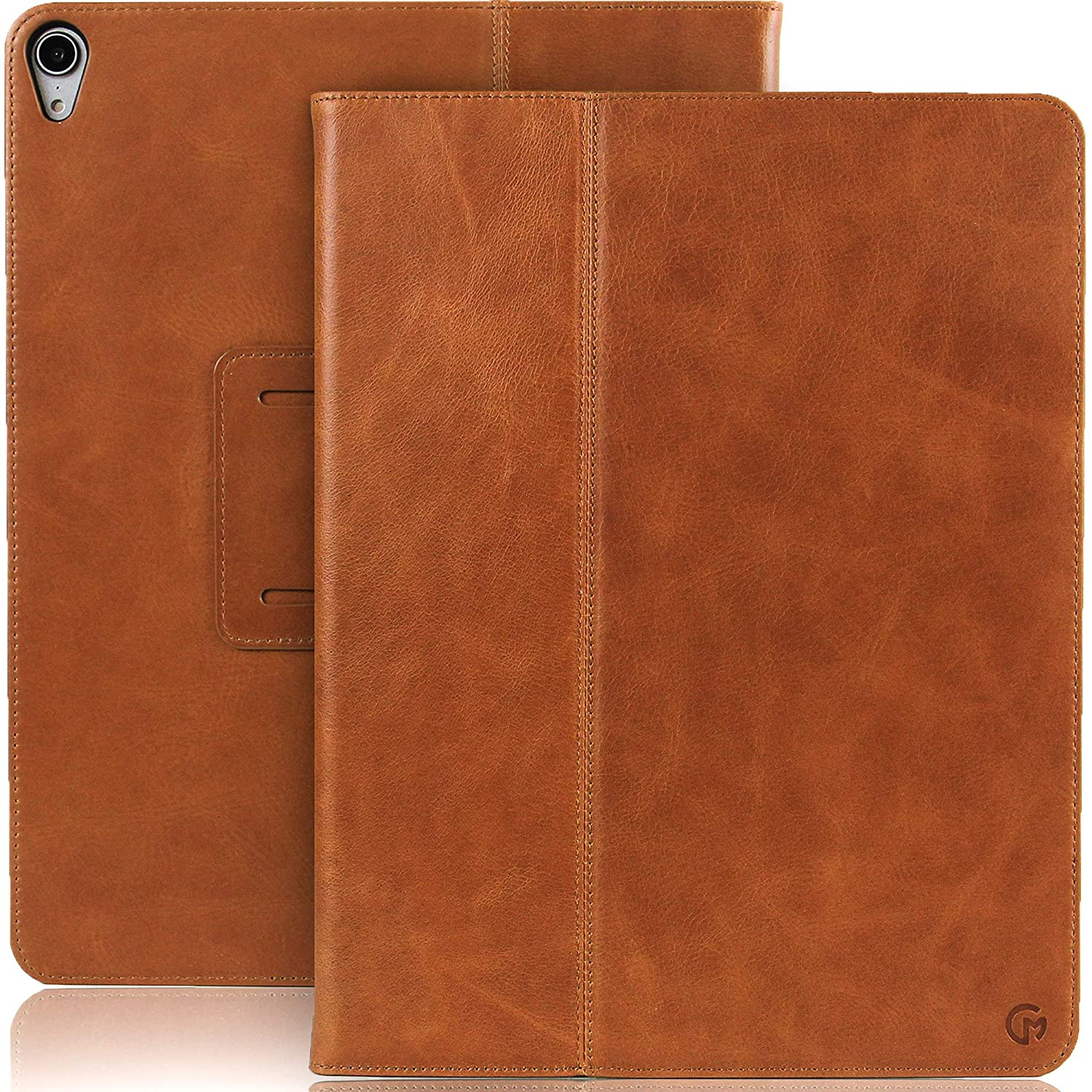 CASEMADE iPad Pro 12.9 inch Real Leather Case (3rd Generation 2018) - Premium Luxury Italian Slim Cover/Smart Folio with Dual Stand and Auto Sleep/Wake (Tan)