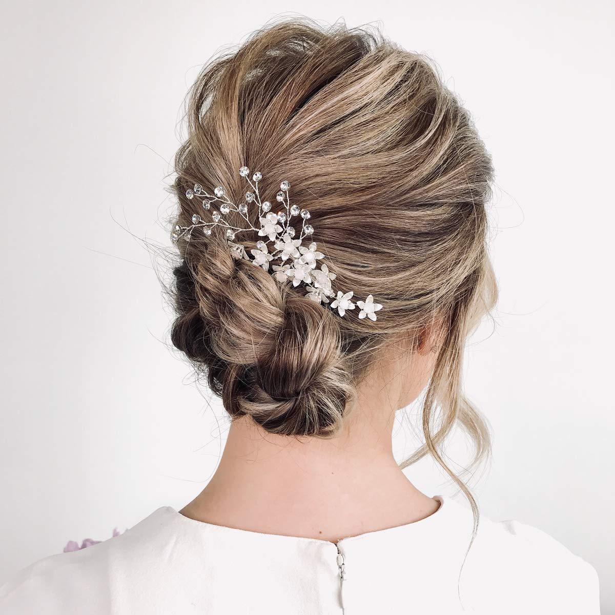 SWEETV Rhinestone Wedding Hair Comb,Silver Wedding Hair Clip,Bridal Hair Accessories for Wedding
