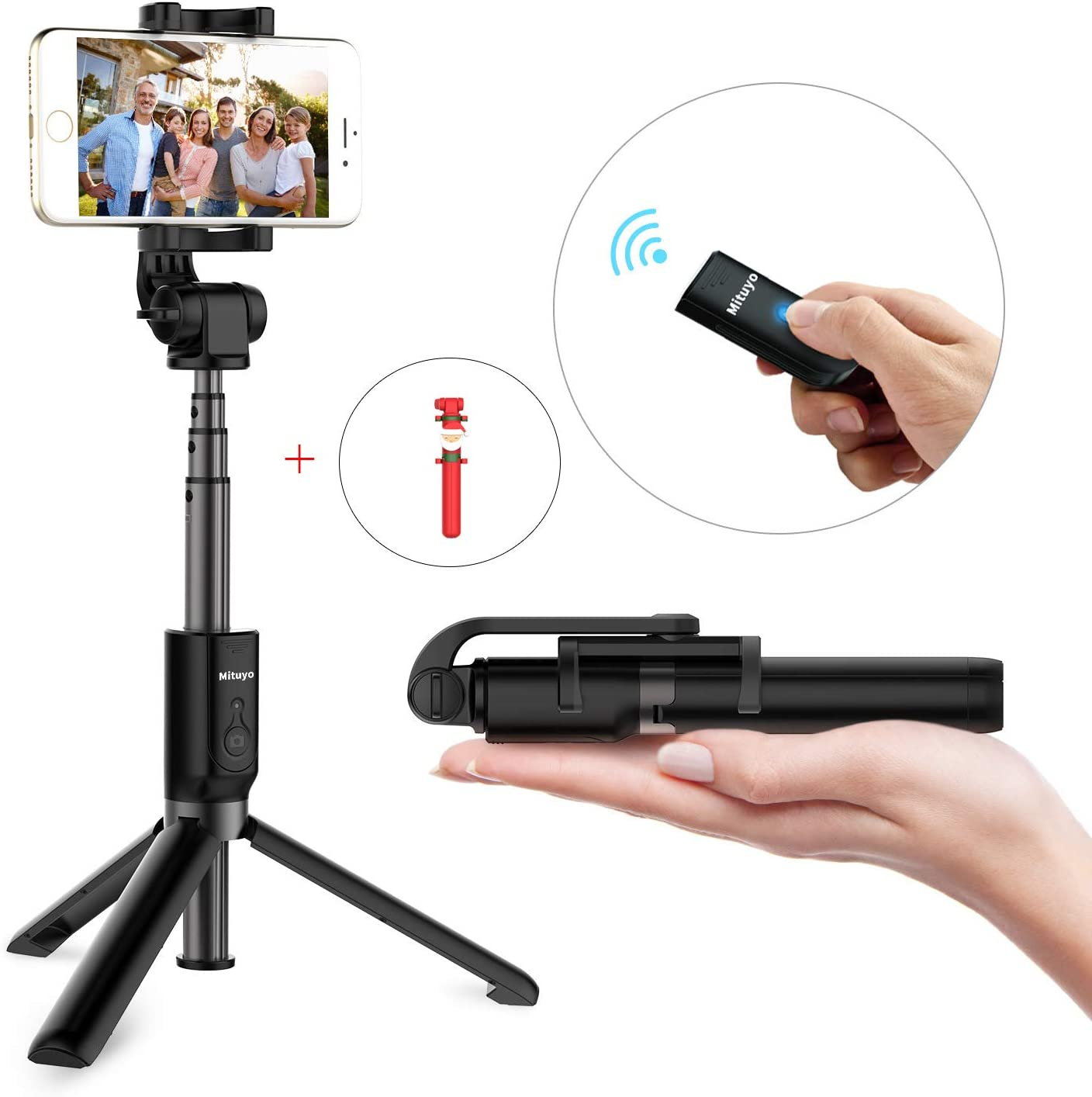 Mituyo, Bluetooth Selfie Stick Tripod Monopod with Wireless Remote Shutter Compatible with iPhone, Samsung, Huawei, Other Smartphones (Black, Standard)