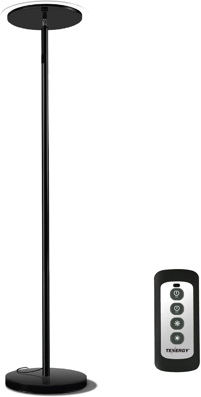 Tenergy Torchiere Remote Control Floor Lamp, LED Floor lamp 30W (150W Equivalent) Standing Lamp with Stepless Touch Dimmer, Two-Part Trip-Proof Cable, 90° Adjustable Top, Warm White Light