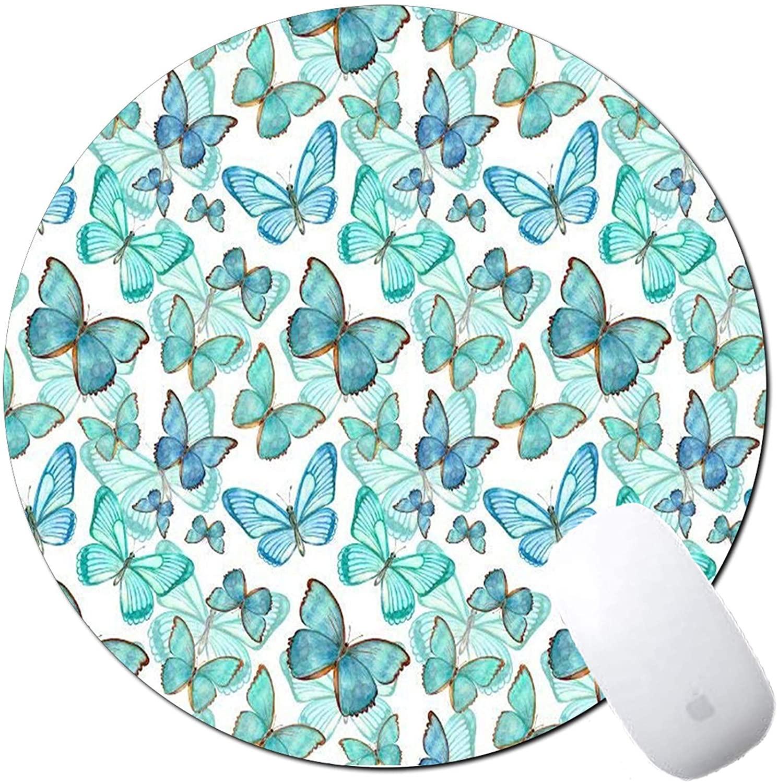 Round Mouse Pad, Premium-Textured Non-Slip Rubber Base MousepadsOffice Accessories Desk Decor Mouse Pads for Computers Laptop (Galaxy) (Beautiful Butterflies)