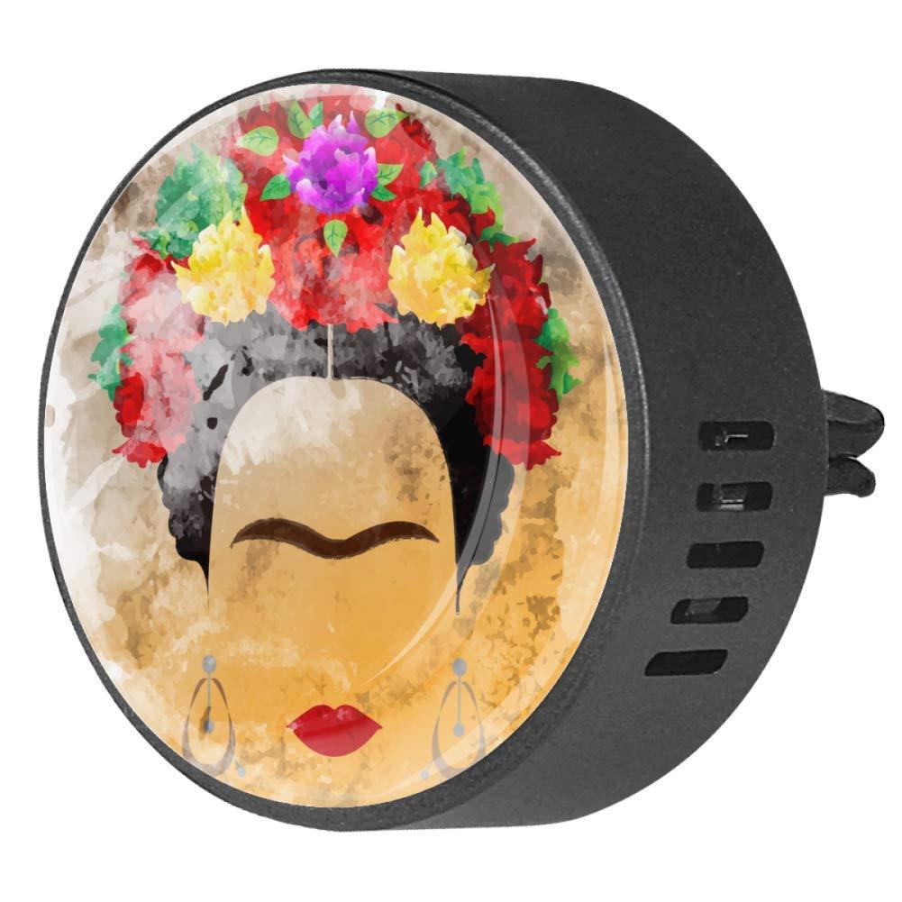 Frida Kahlo Mexican Women Women In Vintage Car Diffuser Vent Clip Healthy Certification EVA Car Air Freshener 2 Pack, Frangipani