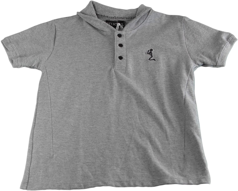 Religion Boy's Grey Short Sleeve Polo Shirt BT12CEO20 New