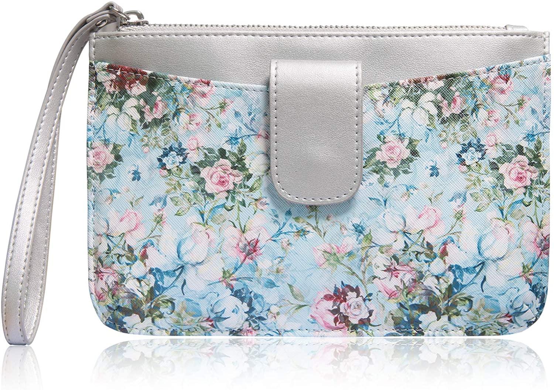 Rose Lake Clutch Bag Envelope Woman Cellphone Wallet Purse with 3 Card Slots Floral Leather Zip Wristlet Handbag