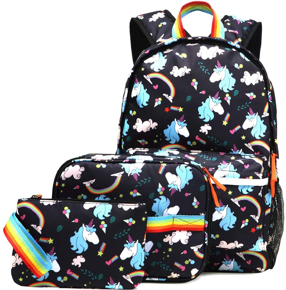 Kemy's Unicorn Backpack for Girls School Bookbag 3 Pieces Cute Inicorn Rainbow Book Bags 14inch Laptop Bag for Girl, Black