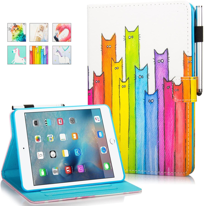 iPad Mini Case DTangLsm iPad Mini 5 2019, iPad Mini 2 3 4 Case Ultra Slim Lightweight Smart Folio Stand Cover with Auto Sleep/Wake Wallet Case for Apple iPad Mini 1/2/3/4/5 Tablet,Colorful Cat