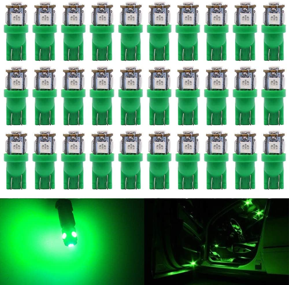 ALOPEE - 30-Pack 24V Green 194 T10 168 2825 W5W Bulb 5050 5 SMD LED Light, Car Interior Lighting for Map Dome Lamp Courtesy Trunk License Plate Dashboard Lights