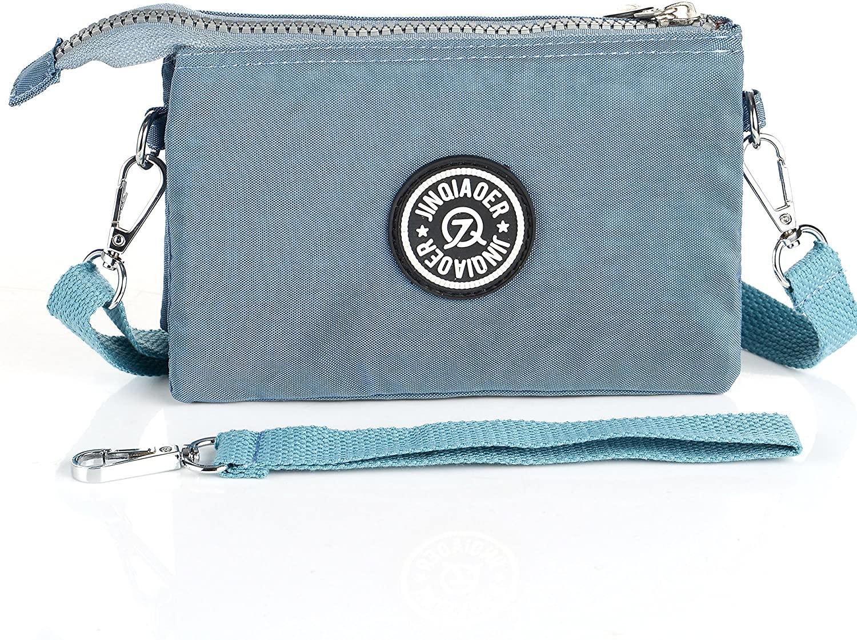 Ladies Wrist Handbag Wristlet Shoulder Bag Girls Water Resistant Nylon Multipurpose Phone Purse 3 Layers 2 Way