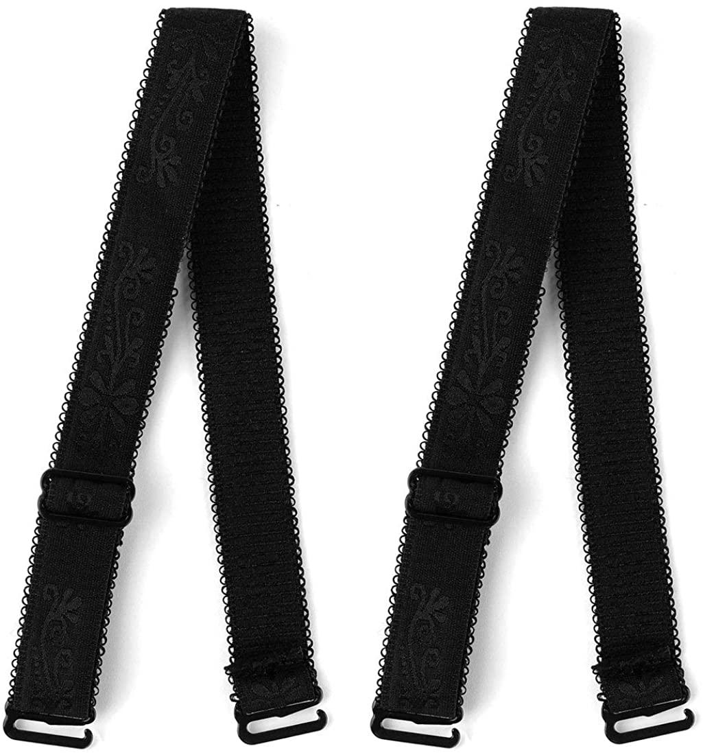 Allegra K Woman Lady Black Adjustable Visible Elastic Shoulder Bra Straps 2 Pcs