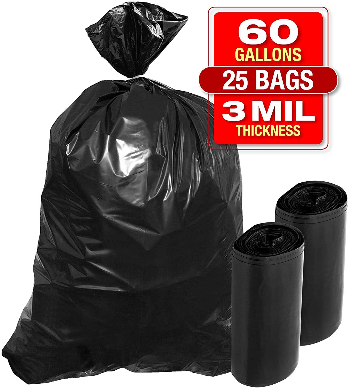 3 Mil 60 Gallon Contractor Trash Bags - 25 PK 38