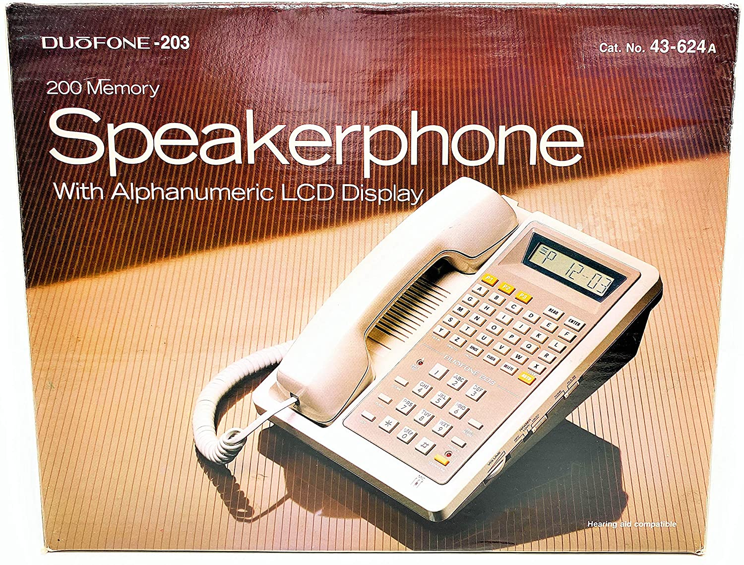 Duofone 200 Memory Speakerphone with Alphanumeric LCD Display Hearing Aid Compatible