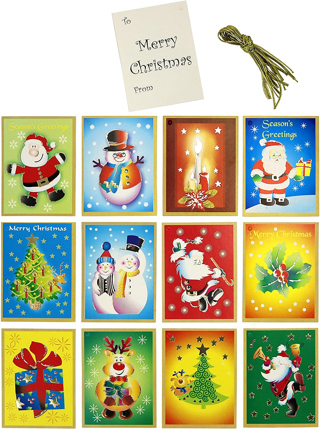 Iconikal 144-Count Tie-On Christmas Holiday Gift Tags, (12 Designs)