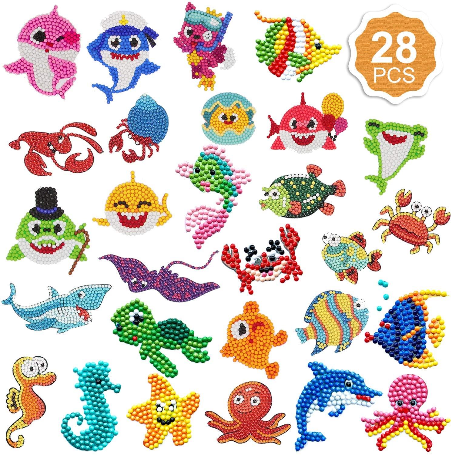 Konsait 28 Pack Diamond Painting Stickers Kits for Kids,DIY Arts Crafts 5D Cute Diamond Mosaic Stickers Paint by Number Diamonds for Children Adult Beginners -Birthday Christmas Gift-Ocean Sea Shark