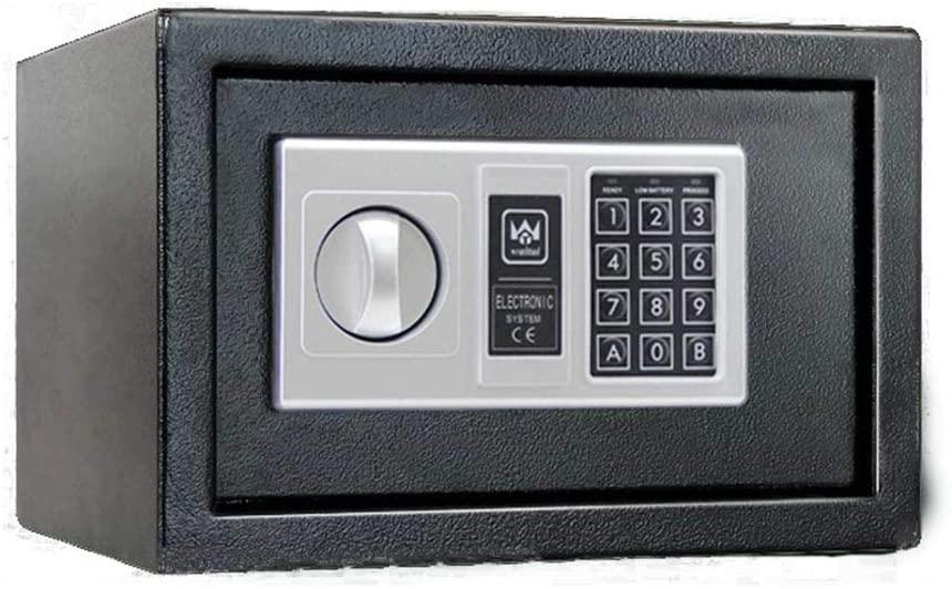 PUEEPDEE Safe Box Steel Digital Safe Deposit Box with Digital Keypad Protect Money Jewelry Safe Box for Money (Color : Black, Size : 31x20x20cm)