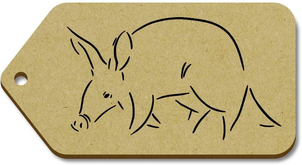 Azeeda 10 x Large 'Walking Aardvark' Wooden Gift Tags (TG00049898)