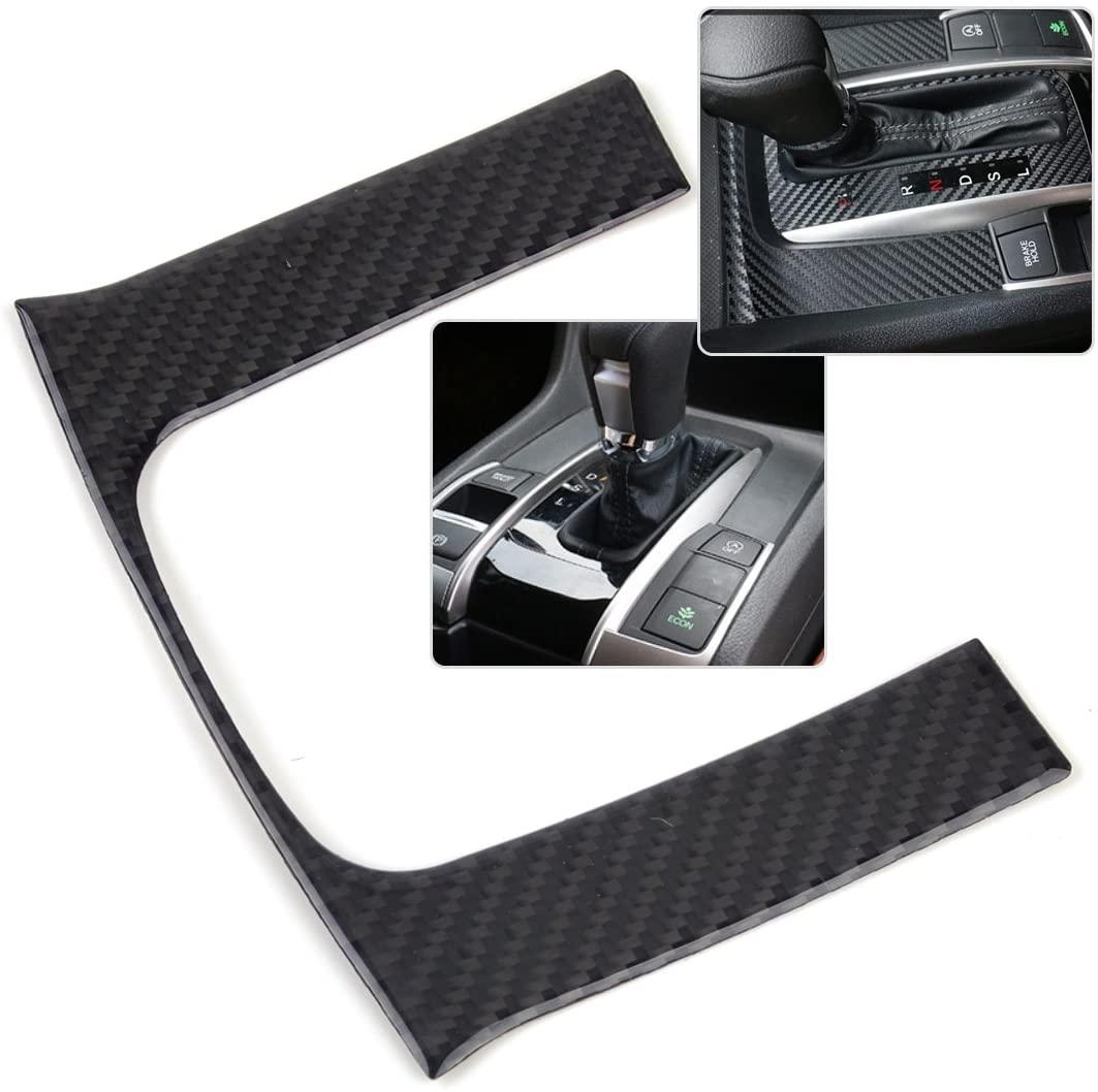 Styling Mouldings Dwcx Car Styling Black Center Console Gear Shift Carbon Fiber Panel Frame Cover Trim For Honda Civic 2016 2017