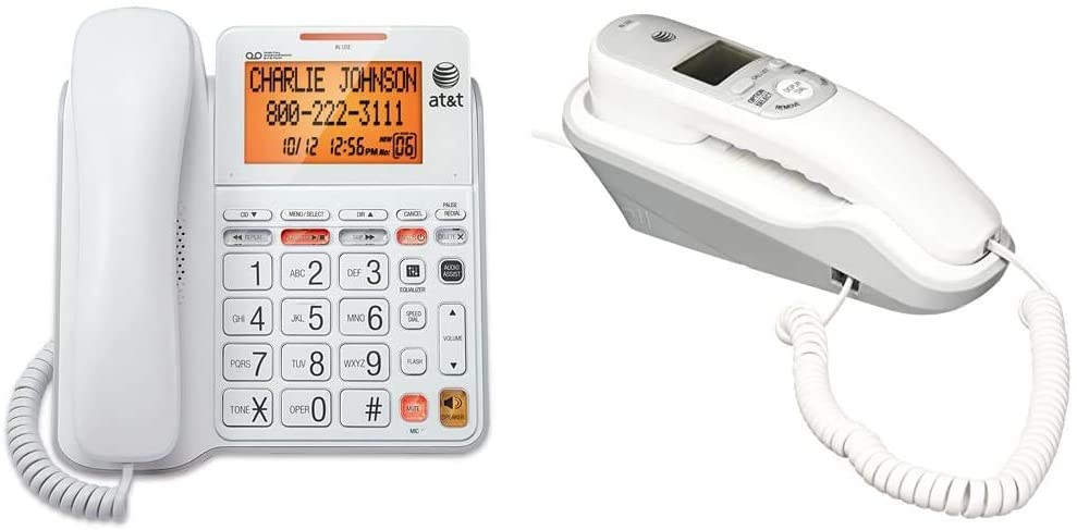 AT&T CL4940 Corded Standard Phone with Answering System and Backlit Display, White & TR1909 Trimline Corded Phone with Caller ID, White