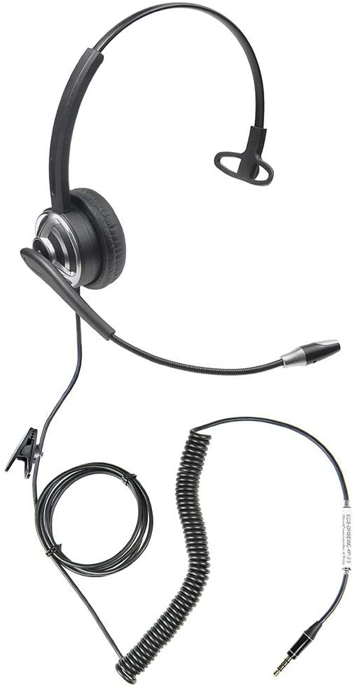 ECS WordCommander 3.5mm 4-Pole Dictation Headset for Smartphones and Tablets