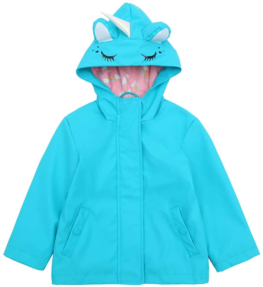 Girls' Lightweight Waterproof Hooded Rubberized Rain Jacket Raincoat Windbreaker
