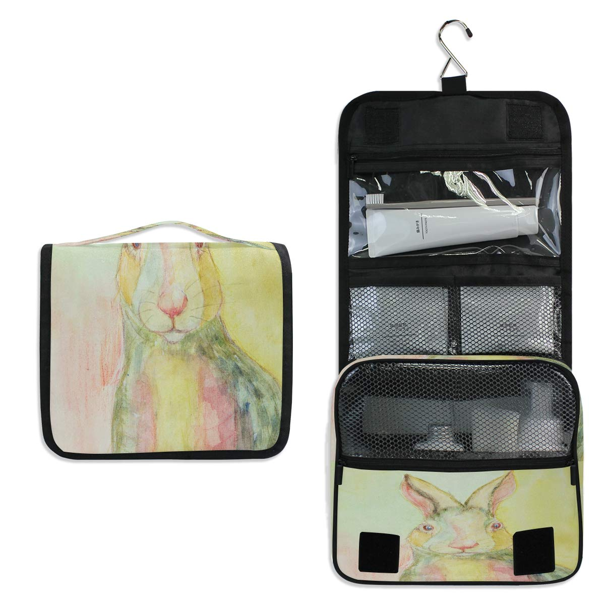 Hanging Toiletry Bag, A Rabbit Waterproof Quilted Wash Gargle Bag Portable Travel Bathroom Shower Bags Deluxe Large Makeup Brush Case Capacity Pouch for Men and Woman