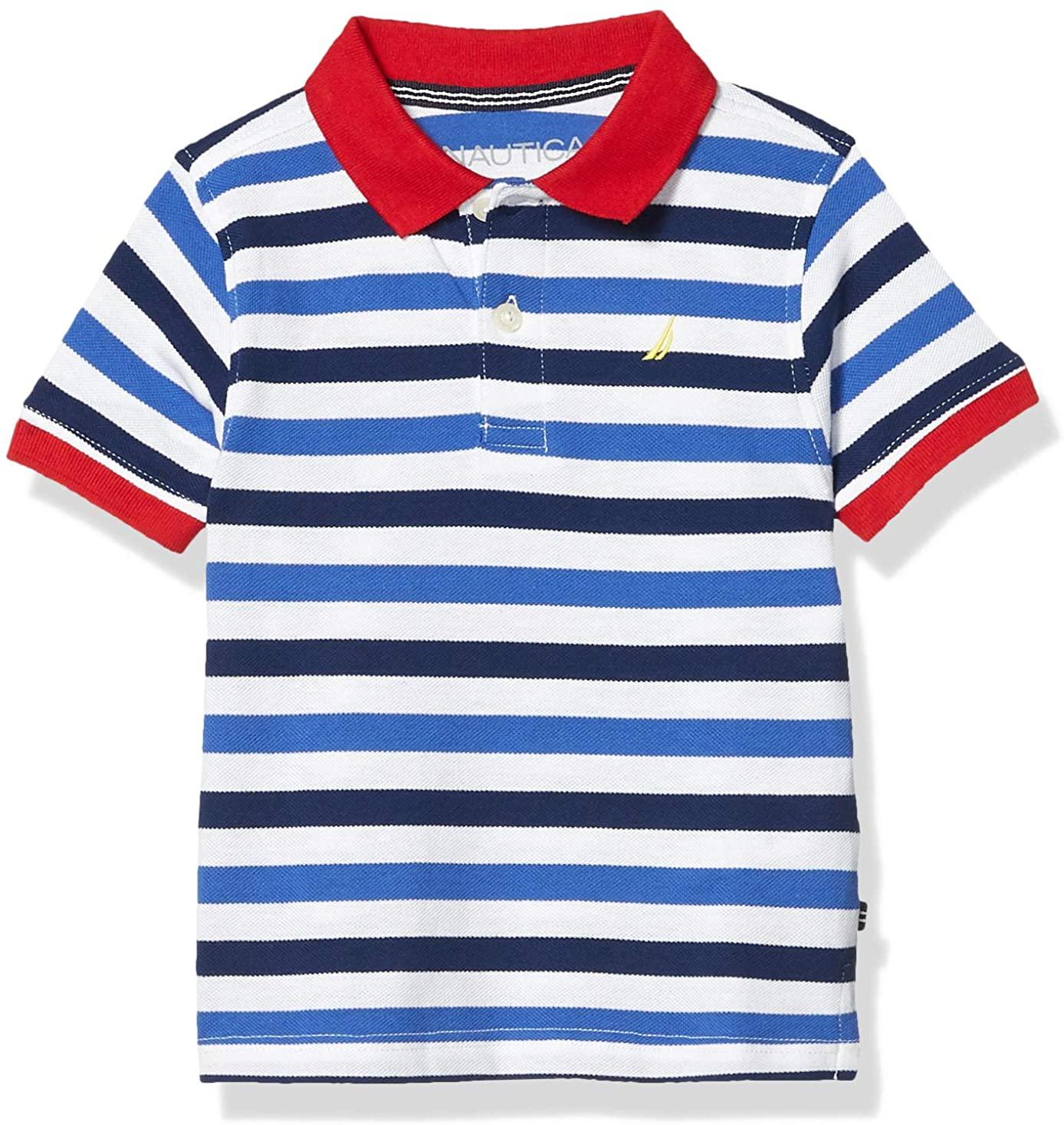 Nautica Boys' Short Sleeve Striped Polo