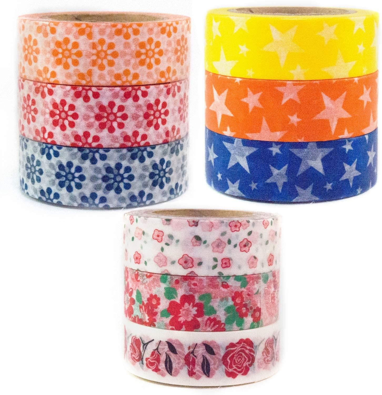 Japanese Washi Masking Tape by Minas Crafts, 0.6 Inches Wide, 32.8 Feet Long, Set of 9 Bundle