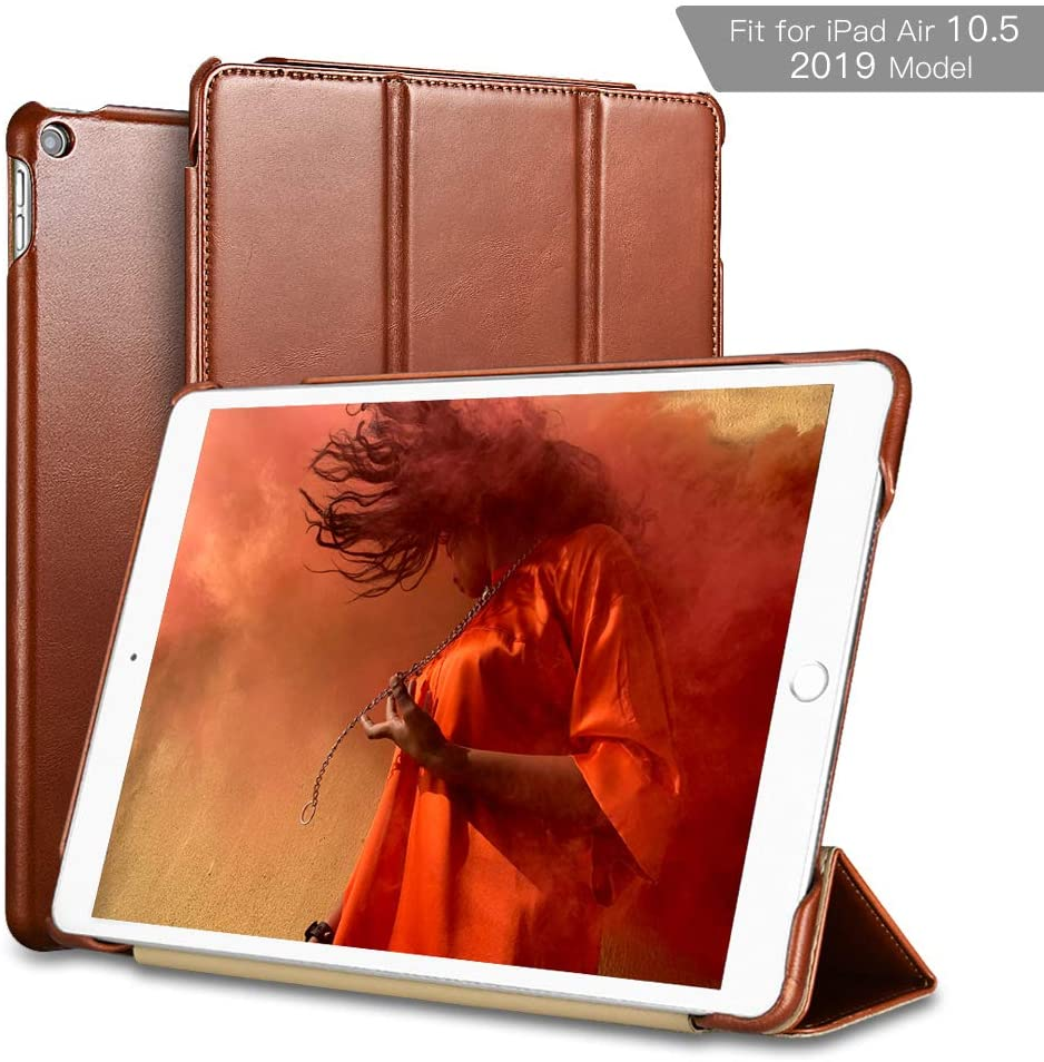 iPad Air 10.5 Case 2019, ICARER Vintage Series Genuine Leather Folio Flip Smart Cover with Auto Wake/Sleep Function [Magnetic Latch] Kickstand for Apple iPad Air 3rd Generation(Brown
