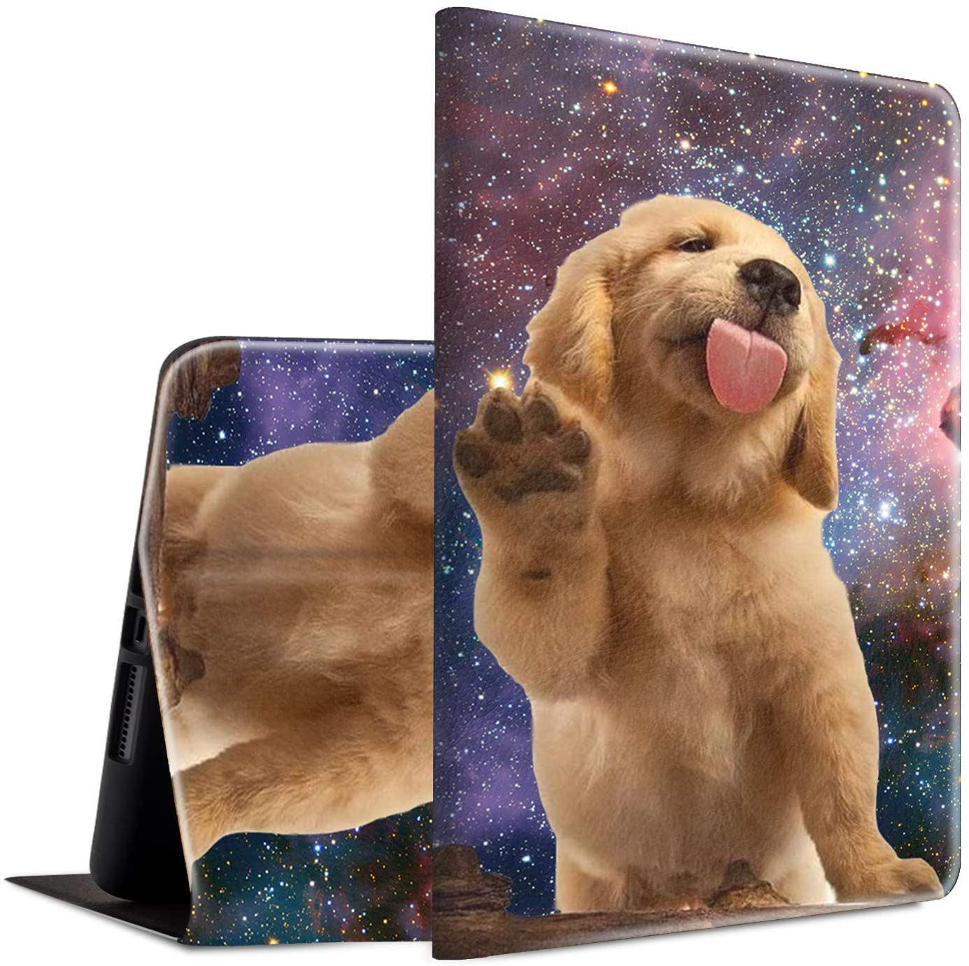 iPad 10.2 2019 Case, Spsun Lightweight PU Leather Folio Cover Adjustable Stand with Auto Wake/Sleep Smart Protect Case for Apple iPad 10.2 Inch 7th Generation 2019 - Golden Retriever Puppy Dog