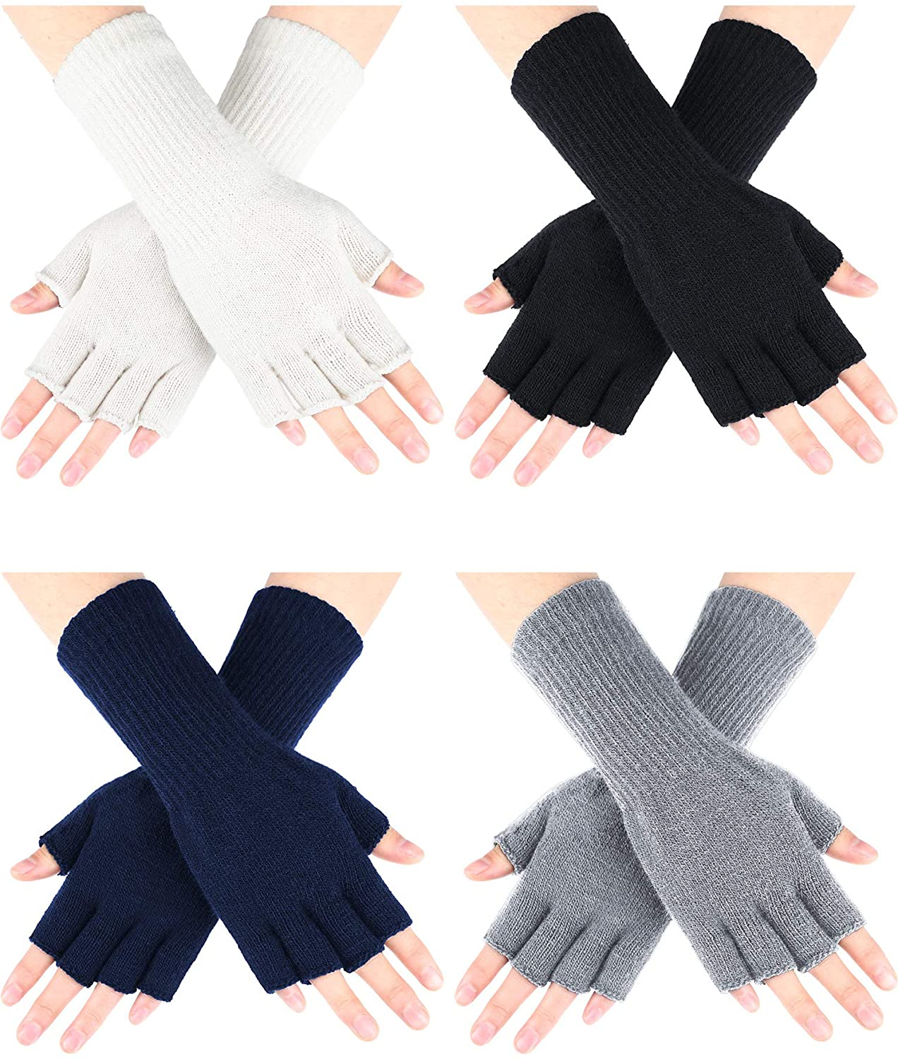 4 Pairs Long Fingerless Gloves Knitted Arm Warmers Winter Long Half Finger Mittens for Kids