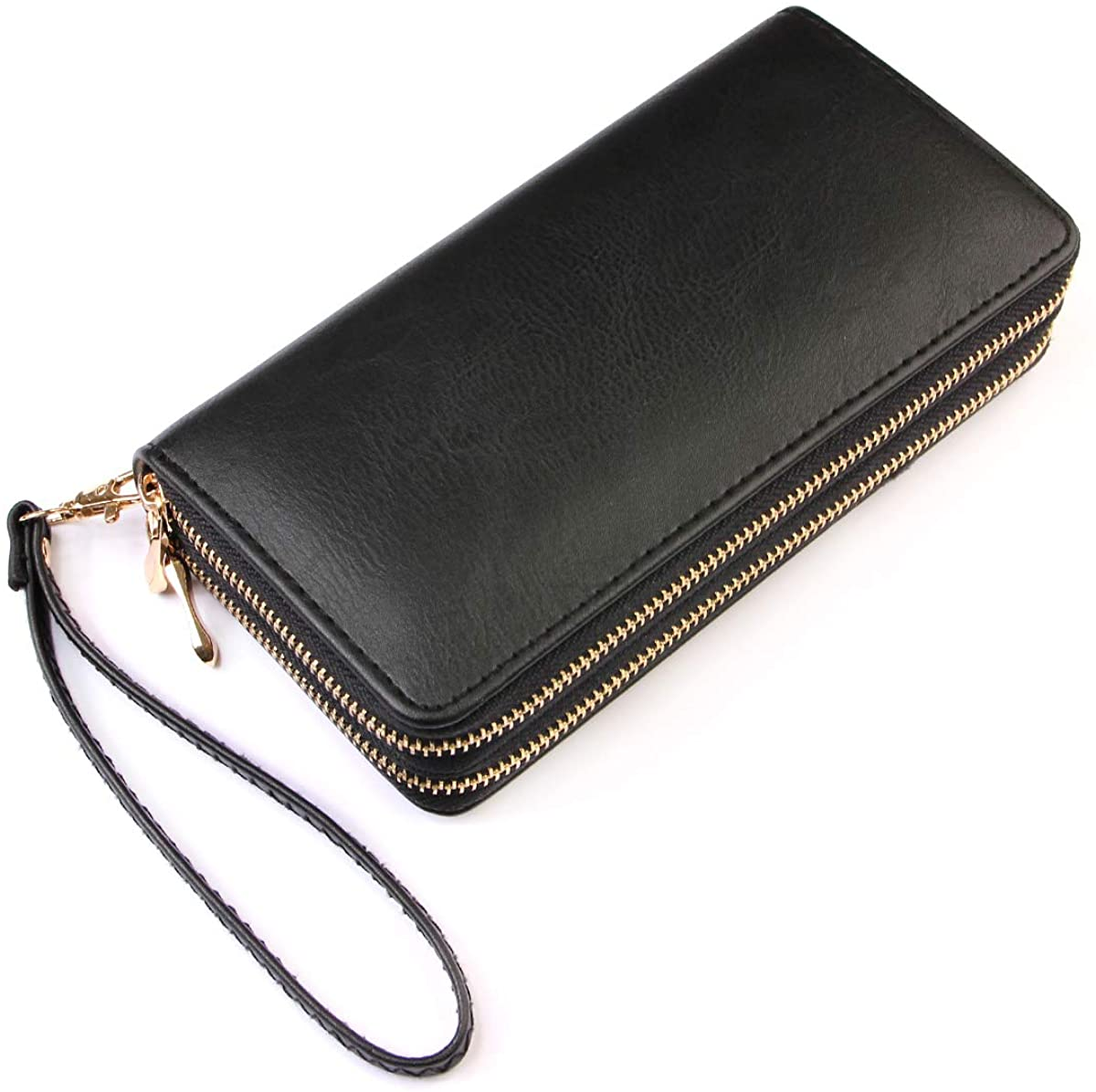 Classic Leatherette Zip Around Wallet - Vegan Leather Zipper Clutch Purse Coin Card Slots, Removable Wristlet