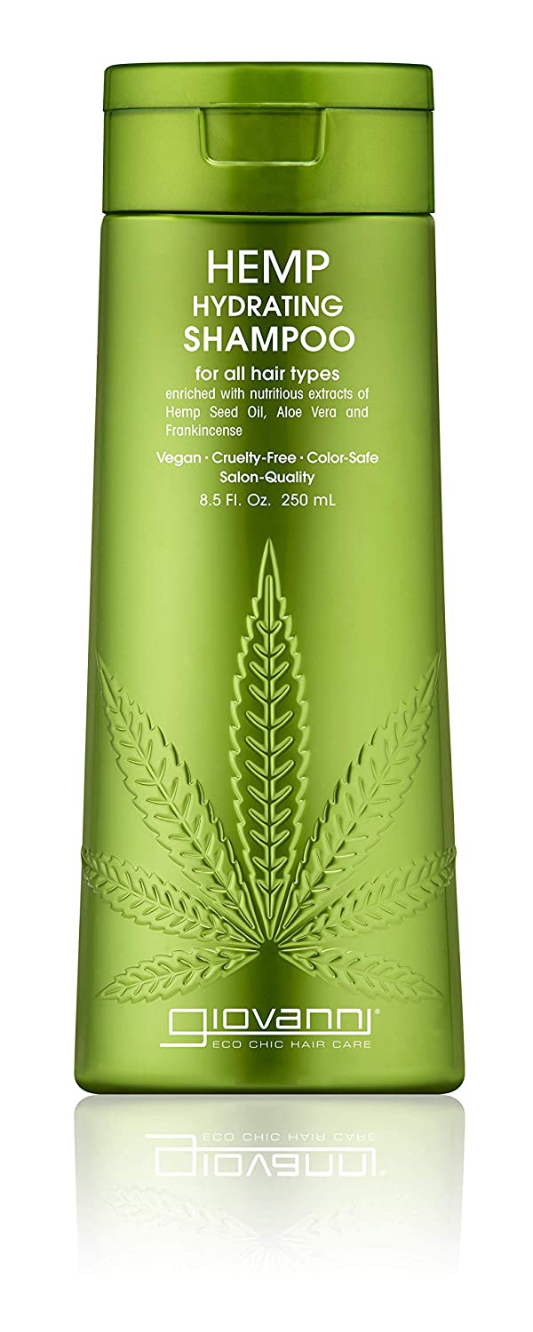 GIOVANNI Hemp Hydrating Shampoo, 13.5 oz. Hemp Seed Oil, Aloe Vera, Frankincense, Helps Stimulate, Moisturize and Revitalize Damaged Hair, Sulfate Free, No Parabens, Color Safe (Pack of 1)