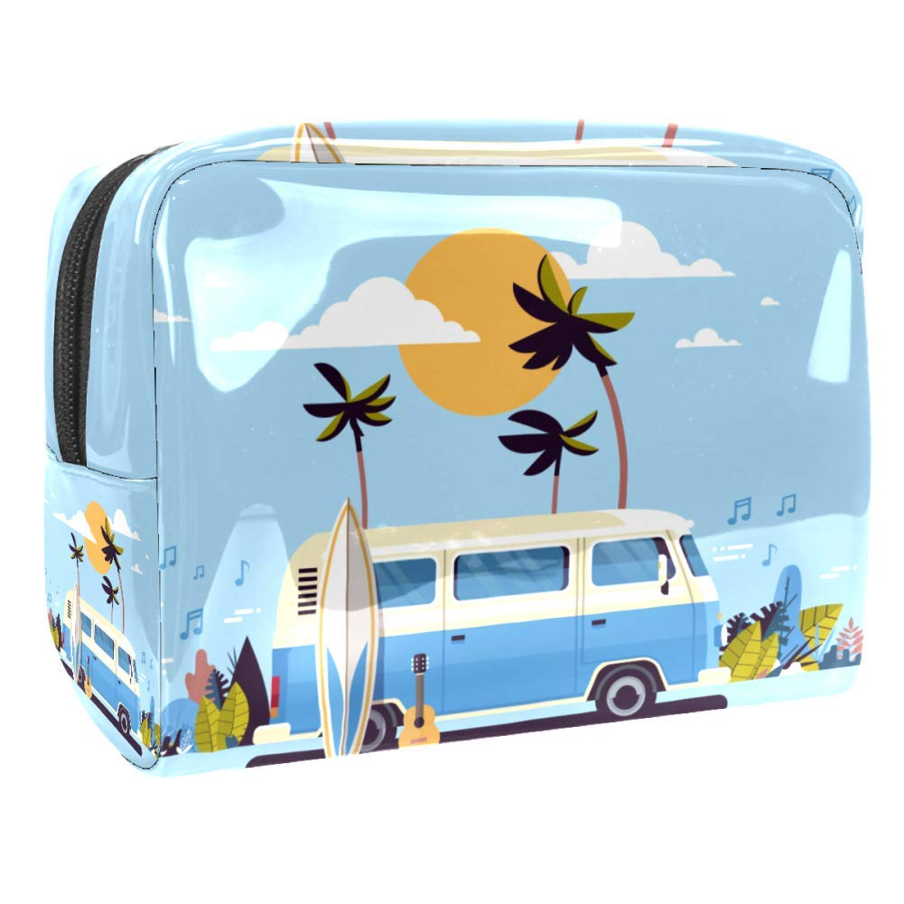 Retro Surfing Vintage Surf Bus Sunset Tropical Beach Waterproof Travel Cosmetic Bag Portable Travel Wash Toiletry Bags Pouch Case Makeup Tool Storage