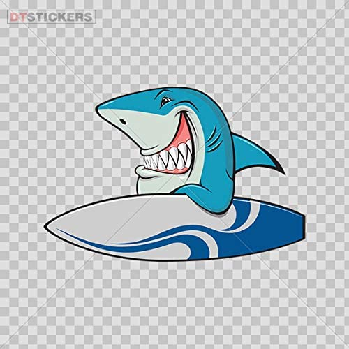 Decal Stickers Smiling Shark Sea Sports Surfer Left Motorbike Boat D217 2A8WS