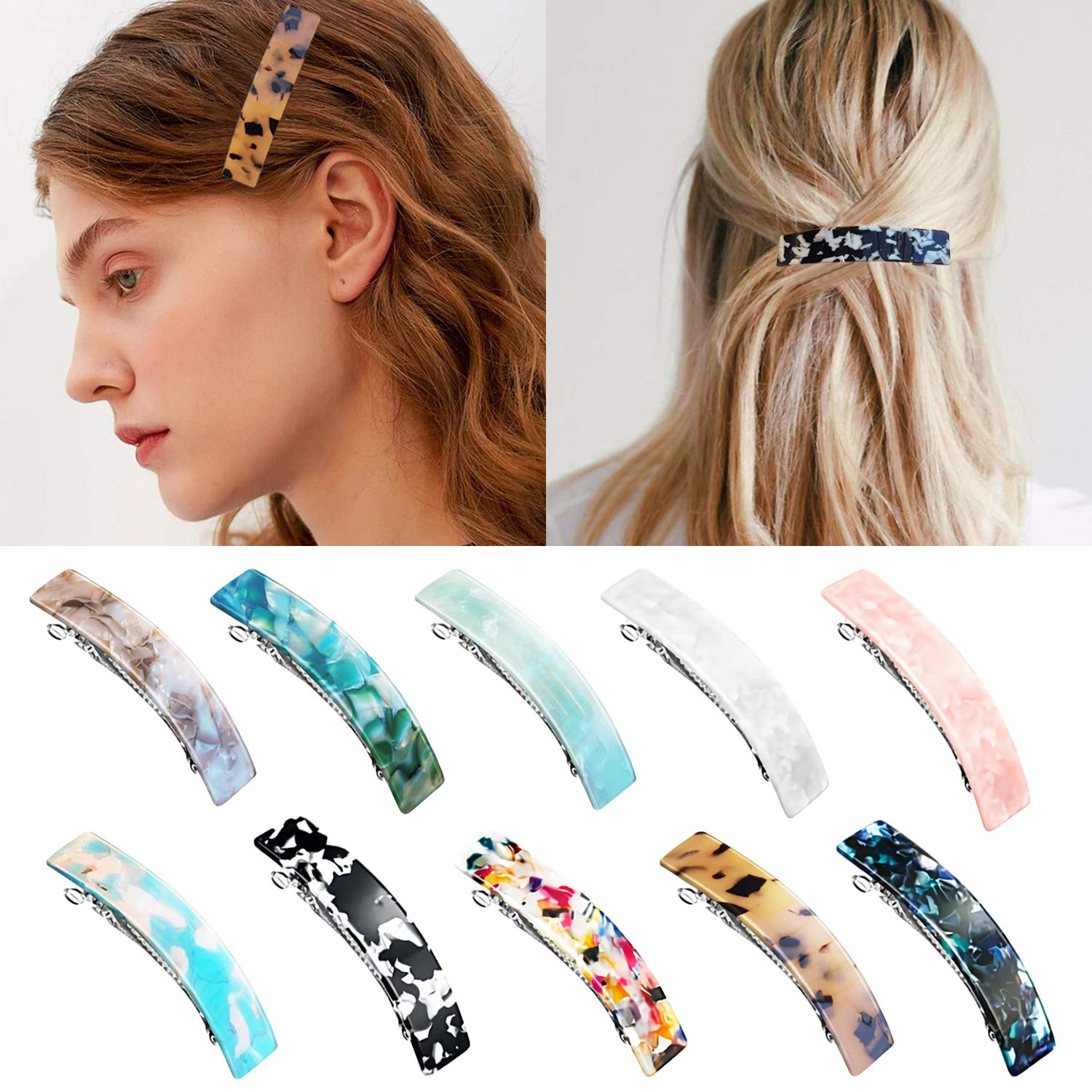 ZYNERY 10 Pieces French Elegant Rectangle Hair Barrettes for Women Girls, Acrylic Tortoise Shell Hair Clips for Thick Hair - Automatic Hairpins with Marble Print